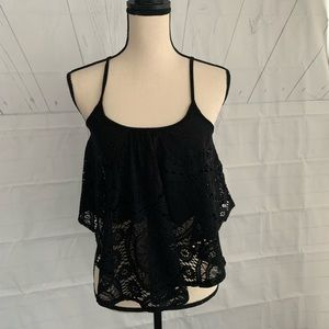 Black lace camisole top